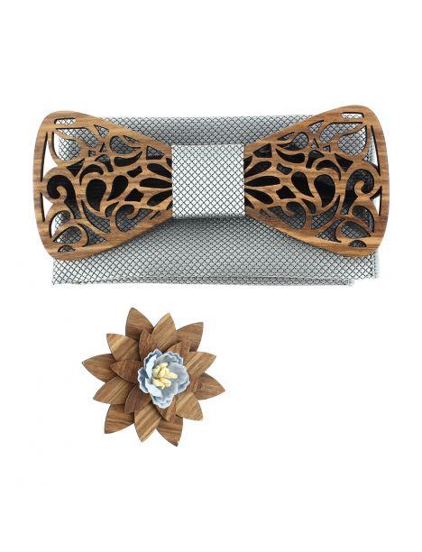 Coffret Volutes sculptées, gris. Noeud papillon en bois avec 2 accessoires. Tony & Paul Noeud Papillon