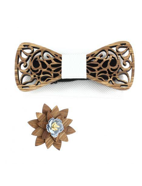 Coffret Volutes sculptées, blanc. Noeud papillon en bois avec 2 accessoires. Tony & Paul Noeud Papillon
