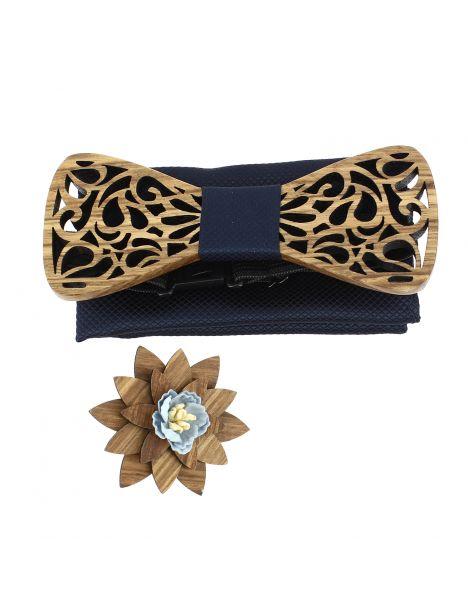 Coffret Volutes sculptées, marine. Noeud papillon en bois avec 2 accessoires. Tony & Paul Noeud Papillon