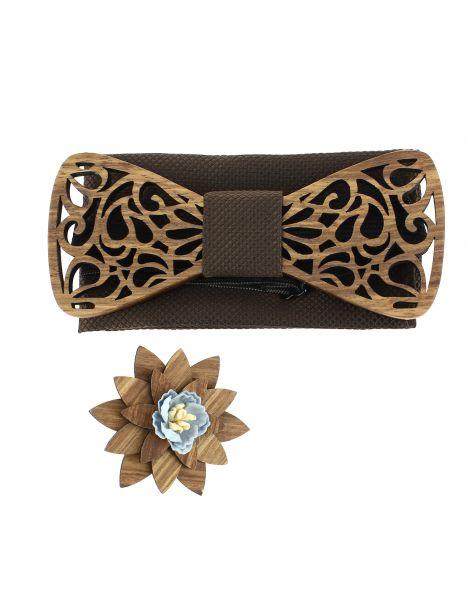Coffret Volutes sculptées, chocolat. Noeud papillon en bois avec 2 accessoires. Tony & Paul Noeud Papillon