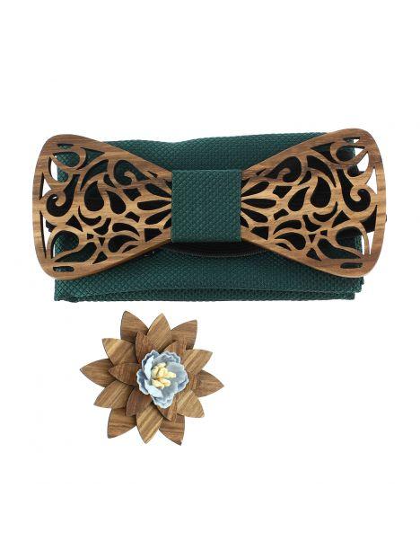 Coffret Volutes sculptées vert. Noeud papillon en bois avec 2 accessoires. Tony & Paul Noeud Papillon