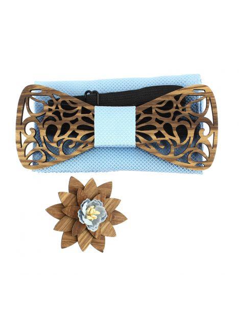 Coffret Volutes sculptées ciel. Noeud papillon en bois avec 2 accessoires. Tony & Paul Noeud Papillon