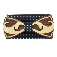 Coffret Moustache Noeud papillon en bois et pochette marine à pois, Tony et Paul