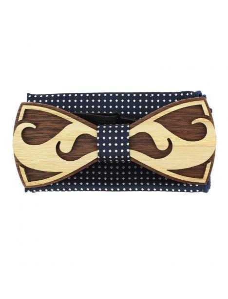 Coffret Moustache Noeud papillon en bois et pochette marine à pois, Tony et Paul Tony & Paul Noeud Papillon