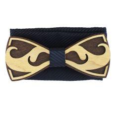 Coffret Moustache Noeud papillon en bois et pochette Marine rayé, Tony et Paul
