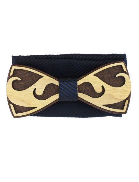 Coffret Moustache Noeud papillon en bois et pochette Marine rayé, Tony et Paul Tony & Paul Noeud Papillon