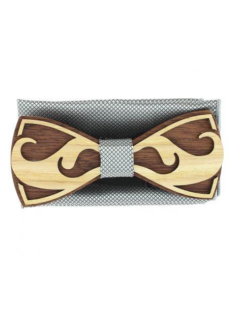 Coffret Moustache Noeud papillon en bois et pochette gris clair, Tony et Paul Tony & Paul Noeud Papillon