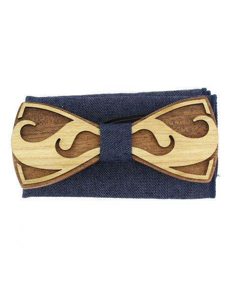 Coffret Moustache Noeud papillon en bois et pochette bleu denim, Tony et Paul Tony & Paul Noeud Papillon