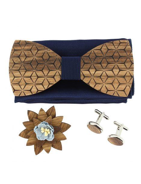 Coffret Fleurs 3D Marine, Noeud papillon en bois et 3 accessoires. Tony & Paul Noeud Papillon