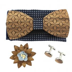 Coffret Fleurs 3D Marine à pois, Noeud papillon en bois et 3 accessoires.