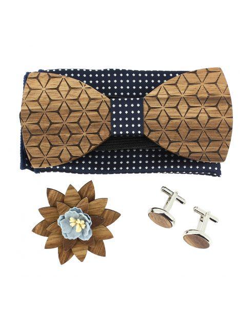 Coffret Fleurs 3D Marine à pois, Noeud papillon en bois et 3 accessoires. Tony & Paul Noeud Papillon