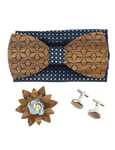 Coffret Fleurs 3D Marine carrés, Noeud papillon en bois et 3 accessoires. Tony & Paul Noeud Papillon