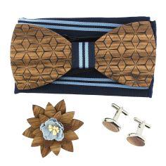 Coffret Fleurs 3D Marine à lignes, Noeud papillon en bois et 3 accessoires.