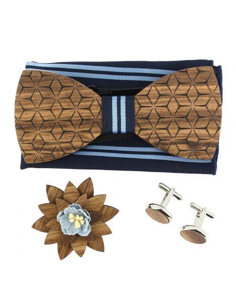 Coffret Fleurs 3D Marine à lignes, Noeud papillon en bois et 3 accessoires. Tony & Paul Noeud Papillon