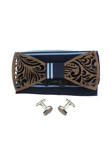 Coffret Feuilles Marine à lignes, Noeud papillon en bois et 2 accessoires. Tony & Paul Noeud Papillon