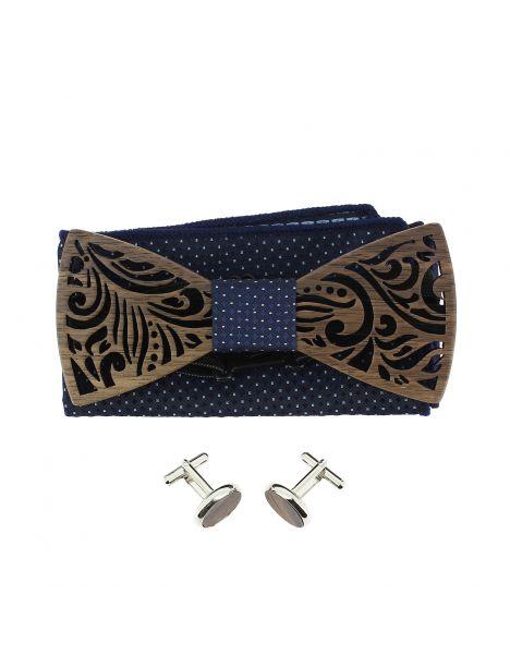 Coffret Feuilles Marine à pois, Noeud papillon en bois et 2 accessoires. Tony & Paul Noeud Papillon