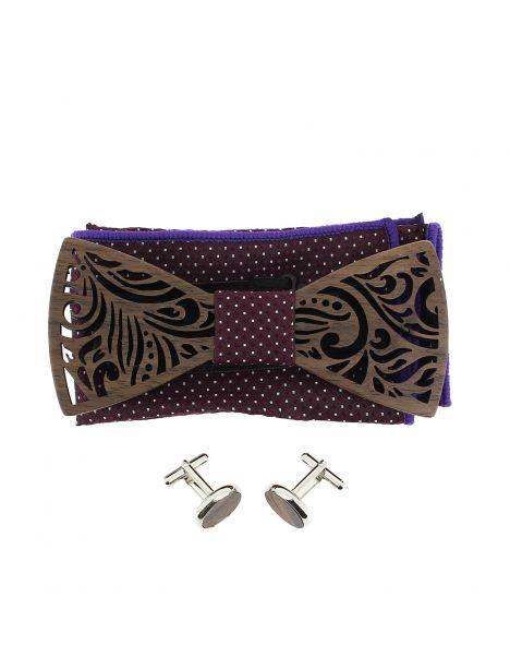 Coffret Feuilles Bourgogne à pois, Noeud papillon en bois et 2 accessoires. Tony & Paul Noeud Papillon