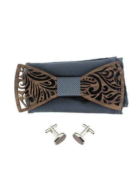 Coffret Feuilles gris bleu, Noeud papillon en bois et 2 accessoires. Tony & Paul Noeud Papillon