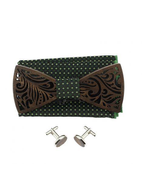 Coffret Feuilles vert anglais, Noeud papillon en bois et 2 accessoires. Tony & Paul Noeud Papillon