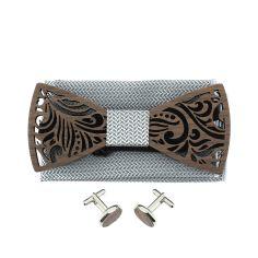 Coffret Feuilles gris cendre, Noeud papillon en bois et 2 accessoires.