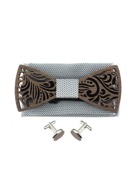 Coffret Feuilles gris cendre, Noeud papillon en bois et 2 accessoires. Tony & Paul Noeud Papillon