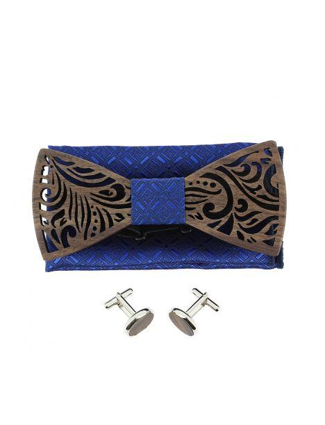 Coffret Feuilles bleu roi, Noeud papillon en bois et 2 accessoires. Tony & Paul Noeud Papillon