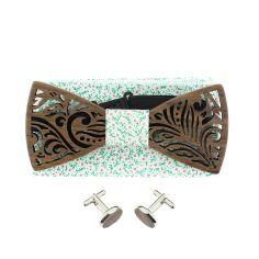 Coffret Feuilles Liberty, Noeud papillon en bois et 2 accessoires.