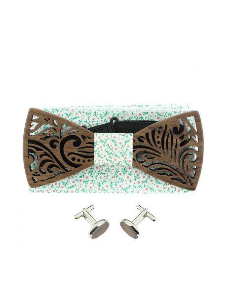 Coffret Feuilles Liberty, Noeud papillon en bois et 2 accessoires. Tony & Paul Noeud Papillon
