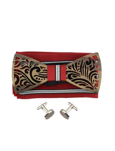 Coffret Feuilles rouges, Noeud papillon en bois et 2 accessoires. Tony & Paul Noeud Papillon
