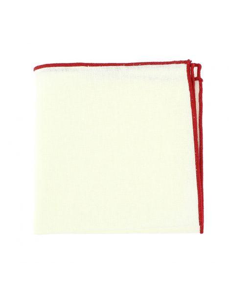 Pochette de costume, blanc cassé et ourlet rouge
