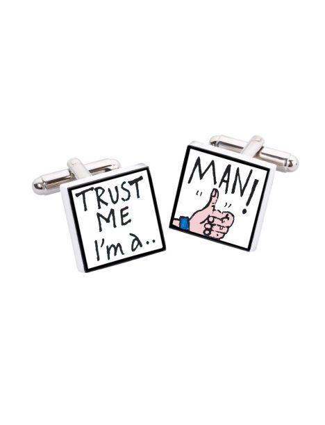 Bouton de Manchette Trust me I'm a man, Bone China Sonia Spencer Bouton de manchette
