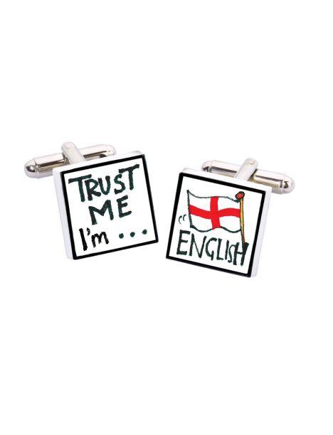 Bouton de Manchette Trust me I'm English, Bone China Sonia Spencer Bouton de manchette