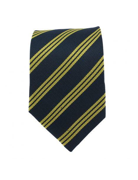 Cravate marine club, rayures dorée Clj Charles Le Jeune Cravates