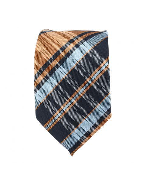 Cravate Tartan cuivre et bleu Clj Charles Le Jeune Cravates
