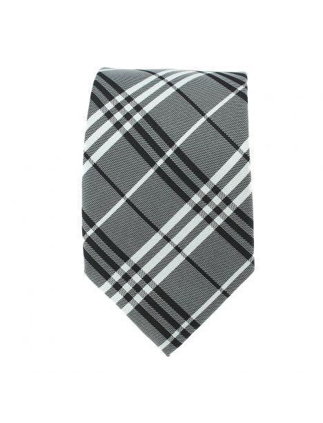 Cravate tartan gris Clj Charles Le Jeune Cravates