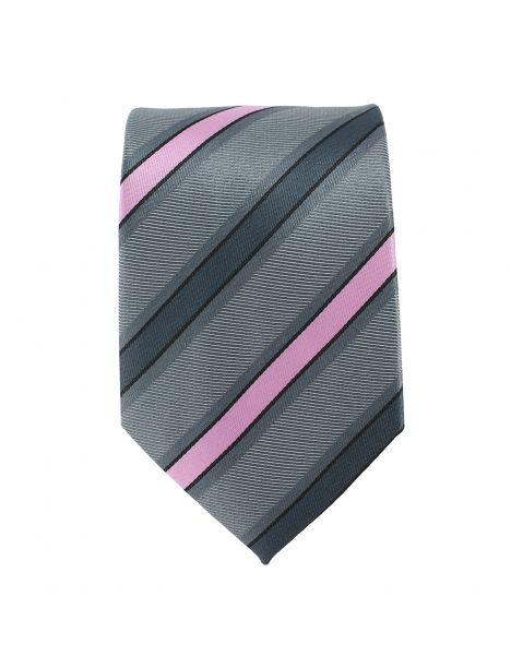 Cravate rayée gris et rose Clj Charles Le Jeune Cravates