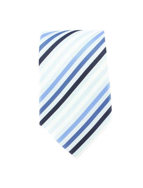 Cravate rayée blanc bleu noir Clj Charles Le Jeune Cravates