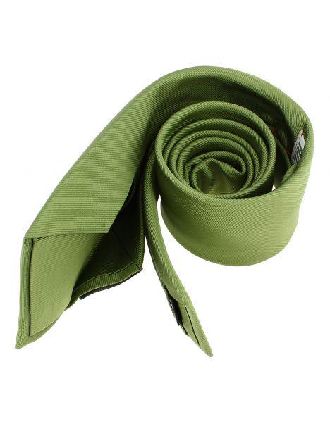 Cravate soie 6 plis, vert Mela, Faite à la main
