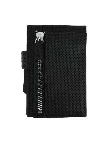 Porte carte Cascade for coin. Aluminium et cuir Végan. Traforato noir. Ogon Design.