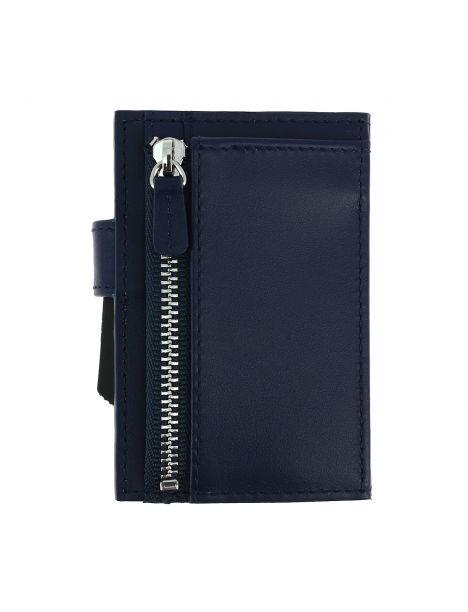 Porte carte Cascade for coin. Aluminium et cuir Bleu Marine. Ogon Design.