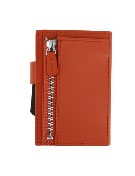 Porte carte Cascade for coin. Aluminium et cuir orange alu orange. Ogon Design.