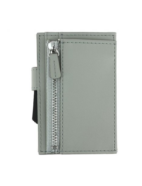 Porte carte Cascade for coin. Aluminium et cuir blaster alu argenté. Ogon Design.