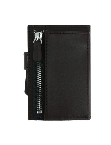 Porte carte Cascade for coin. Aluminium et cuir marron alu titanium. Ogon Design.