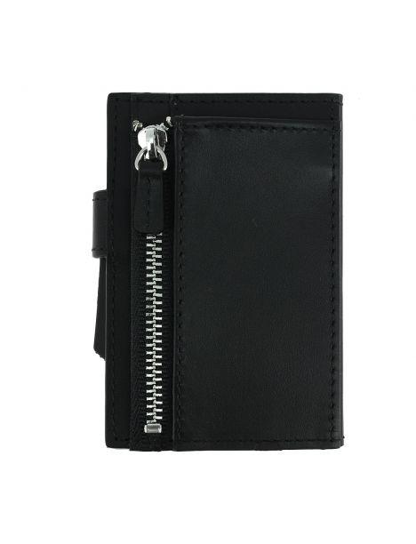 Porte carte Cascade for coin. Aluminium et cuir noir alu argenté. Ogon Design.