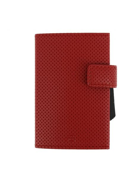 Porte carte Cascade, Aluminium et cuir vegan Traforato rouge, Ogon Design.