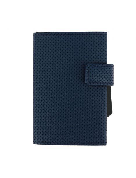 Porte carte, Cascade, Aluminium et cuir vegan Traforato bleu, Ogon Design.