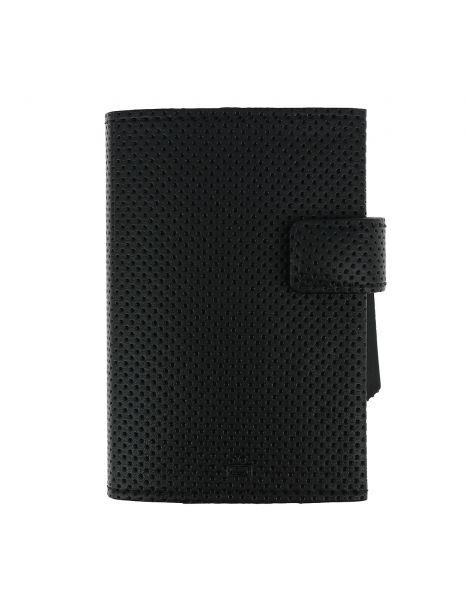 Porte carte Cascade, Aluminium et cuir vegan Traforato titane noir, Ogon Design.