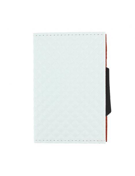 Porte carte Cascade Slim, Aluminium orange et cuir blanc Micerino, Ogon Design.