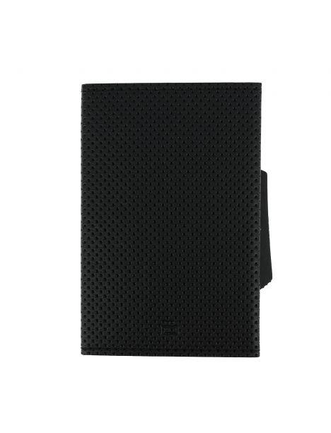 Porte carte Cascade Slim, Aluminium et cuir vegan, Traforato noir, Ogon Design.