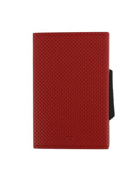 Porte carte Cascade Slim, Aluminium et cuir vegan, Traforato rouge, Ogon Design.